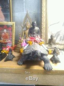 Large Magic Turtle LP LIEW Brass Statues Thai Buddha Amulets B. E. 2539 Wealth