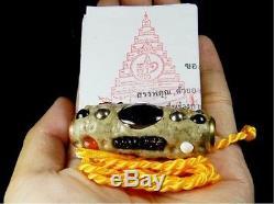 Leklai Takrud Pendant LP Sompon Thai Buddha Amulet Life Protect Genuine Real