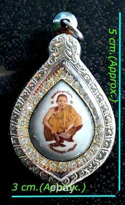 Locket Photo LP KOON Thai Buddha Amulet Pendant, B. E. 2537, Genuine From Temple