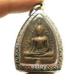 Lord Buddha Miracle 4 Arms Of Lampoon Thai Antique Lucky Success Amulet Pendant