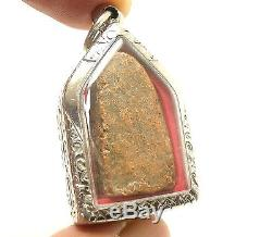 Lord Buddha Tiger Cave Thai Antique Protection Amulet Good Luck Peaceful Pendant