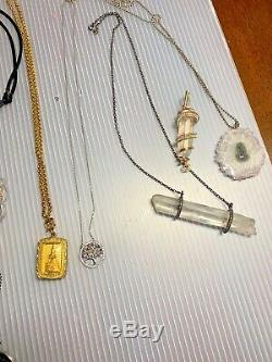 Lot of Sterling Diamond Quartz Crystal Thai Buddha Amulets Moldavite Liz Alpert