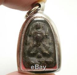 Lp Boon Thai Miracle Amulet Pendant Pra Pidta Close Eye Buddha Strong Protection