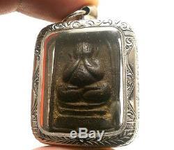 Lp Tim Pidta Close Eyes Buddha Yantra Thai Strong Life Protection Amulet Pendant