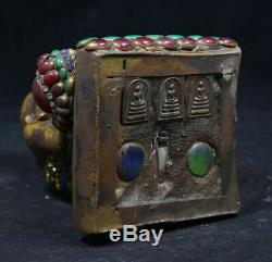 Lp Tuad Toud base Somdej Brass Mixed Monk Old Thai Buddha Amulet Free Shipping