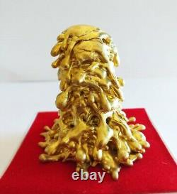 Magic Leklai Thongplalai Gold Amulet Buddha Thai Arjarn Lamyur Rare Protection