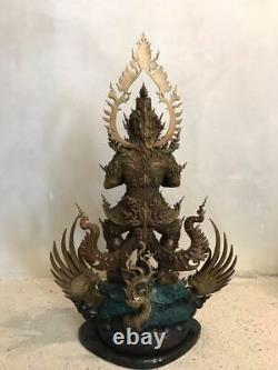 Magnificent Brass Statues Giant Deity Thao wessuwan Thai Buddha Amulet Rich
