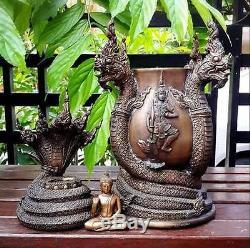 Magnificent Bronze Naga Buddha Meditation Holy Water Bowl Thai Amulet Wealth