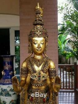 Masterpiece Antique Gilt Bronze Buddha Walking Meditation Thai Amulet Statues