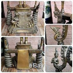 Masterpiece Magnificent Bronze Buddha Emperor King Thai Amulet Statues Ceremony