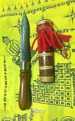 Meed Mor Talisman Dagger Thai Amulet Knife Sword Shaman Buddha Wood Love Leklai