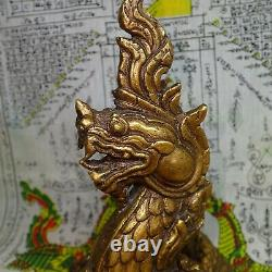 Naga Thai Buddha Statue Protect Buddhism Magic Snake Brass Sculpture Naga