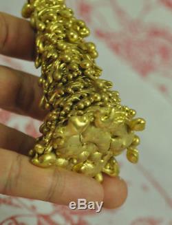 Natural Gold Thong Pra lai LEKLAI deity God Statue Thai Buddha AMULET Talisman