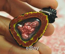 Natural Red Pure LEKLAI SURIYAN RACHA became Phra Pitta Pitda Thai Buddha Amulet