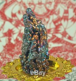 Natural SURIYAN RACHA LEKLAI Rainbow 7 color Lek Lai Statue Thai Buddha AMULET