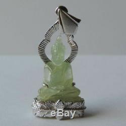 New Buddha prehnite gemstone handy carved status Thai amulet beautiful rare AAA