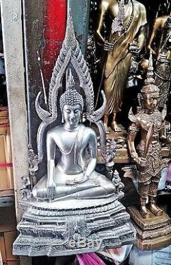 Old 9 Lap Geniune 1954 Buddha Chinnarat Chinnaraj Hot Thai Amulet Statues Brass