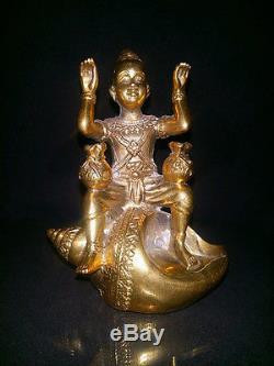 OLD guman thong Bronze GOLDEN CHILD Good Luck Buddha Thai Antique Amulet