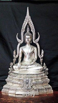 Old 22 H Sakyamuni Phra Buddha Chinnarat 1954 Silver Brass Thai Amulet Statue