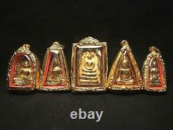 Old Benjapakee Set with Gold Plate Wat Prakaew Temple Thai Buddha Amulet