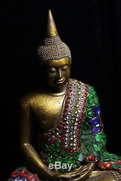 Old Magnificent Rama V Style Jewel Encrusted Thai Sathorn Buddha Resin Cast 32cm