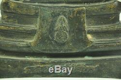Old Pra Buddha Sothorn black bronze Statue Figure Thai Thailand Amulet A. D. 1954