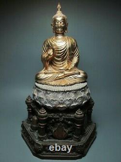 Old Vintage Gold Thai Buddha'phra Putta Phum' Figure Amulet