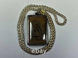 Old Vintage Jeweled Buddha Amulet with 25 Thai Silver Necklace