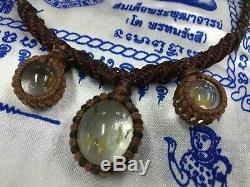 PENDANT Vintage Necklace STONE LEKLAI KEAW TALISMAN BUDDHA MAGIC THAI AMULET