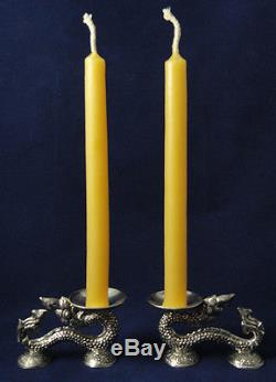 PHAYA NAGA Candlestick 925 STERLING silver Thai Handicraft Amulet Worship Buddha