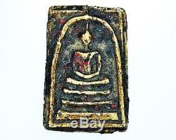 Pendant Old Thai Amulet Phra Somdej Wat Rakang And Gilded Powerful Buddha Sacred