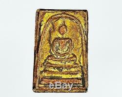Pendant Old Thai Amulet Phra Somdej Wat Rakang Phim Yai And Gilded Sacred Buddha