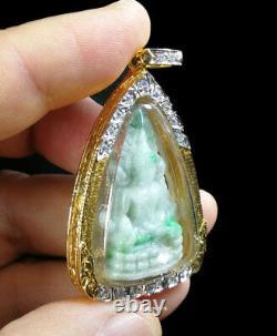 Phra Buddha Chinnarat Jade Gold-plated Case Gemstone Rare Real Thai Amulet