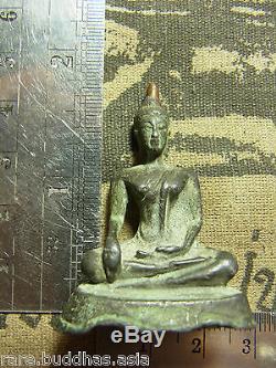 Phra Chiang San Bucha 2-300 yr, sing sarm(3) Bronze Buddha Statue Thai Amulet