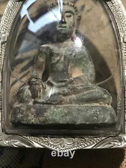 Phra Chiang San Bucha Sing Sarm (3)around 2-300 year, Thai Buddha Amulet