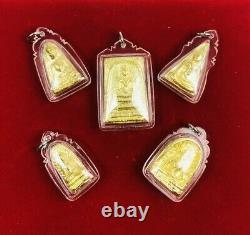 Phra Gold Leklai Benjapakee Power 5pcs Talisman Magic Thai Buddha Somdej Amulet
