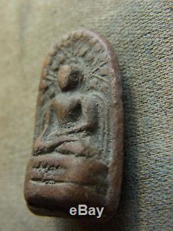 Phra Khong Kru Wat Phra khong Lumphun silver case Protection Thai Antique Buddha