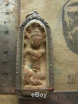 Phra Kru Nadool (Nadoon) Phim Nak prok, in old silver case Thai Buddha Amulet
