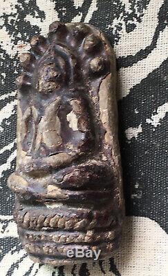 Phra Kru Nadool, Phim Nak prok, beautiful Thai Buddha Amulet Real Silver Casing