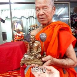 Phra LP NGERN Temple 9 Guru monk Jubilee Brass Statue Thai Buddha Amulet Wealth