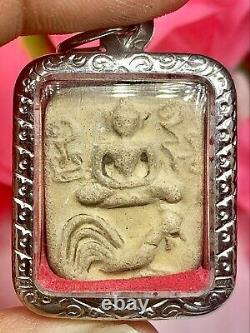 Phra LP Parn On Chicken Certificate Card Magic Thai Amulet Buddha Charm Pendant
