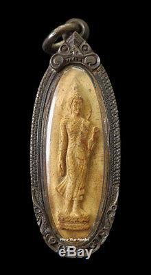 Phra Leela 25Buddha Sattawas Wat Suthad BE2500 Clay Silver Case Rare Thai Amulet