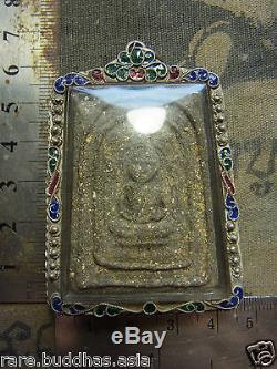 Phra Luang Pu Tim, Wat Rahanrai, Rayong, yr 2517 Thai Buddha Amulet silver case