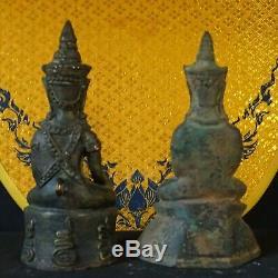 Phra Nang 2 Statues Buddha Chai NgangGod good Luck Khmer Antique Thai amulet NG3