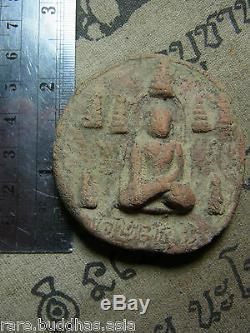 Phra Near Din, Kru Wat Nangtra, Nakhon Srithamaraj, Thai Buddha, Silver case, Amulet