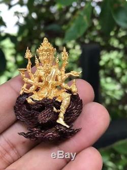 Phra Phom 4 Face Head Brahma LP Yun Thai Buddha Amulet Luck Magic Wealth Red