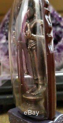 Phra Ruang Amulet with Stand Rare Antique! Thai Amulet Chai Ngang Buddha
