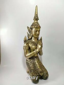 Phra THAI buddha Male angel JUMBO old Amulet temple buddhist talisman RARE A