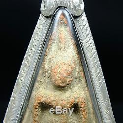 Phra Wat Nang Phaya, Phitsanulok, Earthen base Thai Buddha Amulet, Silver casing