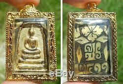 Powerful 5 Phra Benjapakee Glit Gold Lai Kranok MOP Back Thai Buddha Amulet